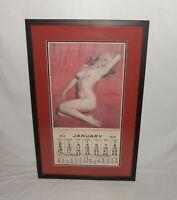 Nice Framed Matted Vintage 1955 Marilyn Monroe Golden Dreams Pin Up Calendar