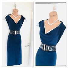 Beautiful JOSEPH RIBKOFF Navy And White Sttetchy Jersey Dress Uk 14