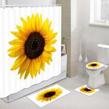 Sunflower flower Fabric Shower Curtain Decor Bathroom Fabric Curtain & Hook