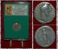 Ancient Roman Empire Coin COMMODUS Pietas Emperor Gladiator Silver Denarius