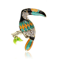 Colorful Enamel Big Mouth Bird Brooches Gold Plated Rhinestone Brooch Pin Party