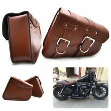 Brown for Harley Sportster Xl883/1200 Dyna 2x Leather Side Saddle Bags Suit