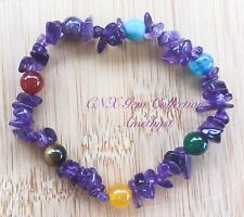 Gem Crystal Natural Amethyst Chipstone HandMade Chakra Beads Stretchy Bracelet C