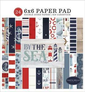 Carta Bella BY THE SEA 6x6 Paper Pad 24pc Scrapbook Planner Nautical Beach fs