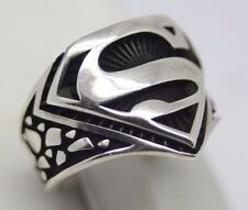 Turkish Handmade 925 Sterling Silver SUPERMAN Onyx Mens Ring Sz 11 Free Resize