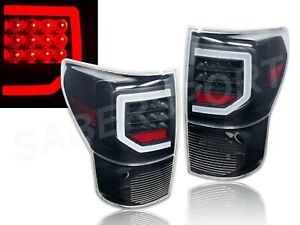 Set of Pair Black Clear C-BAR LED Taillights for 2007-2013 Toyota Tundra