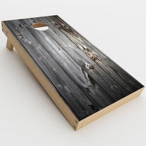 Skin Decal for Cornhole Game Board (2xpcs.) / Grey Light Wood Panels Floor
