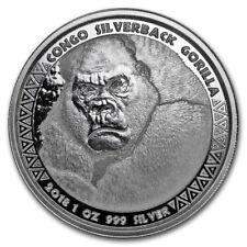 1 oz 999 Silber Silbermünze  Republic of Congo Kongo Silberrücken Gorilla 2018