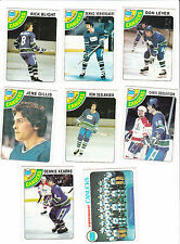 1978 Topps Team SET lot of 8 Vancouver CANUCKS NM/MT LEVER GILLIS (R)