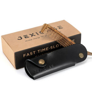 Black Gents Mens Hair Comb Mustache Pocket Folding Leather Wooden Beard Grooming