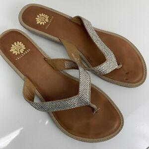 Yellow Box Honey Studded Blink Bling Low Wedge Flip Flop Sandals Womens Sz 9