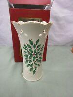 Lenox Holiday Pierced Medium Vase Holly