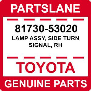 81730-53020 Toyota OEM Genuine LAMP ASSY, SIDE TURN SIGNAL, RH