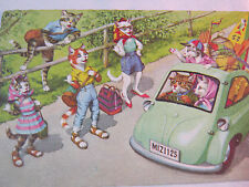 CATS KITTENS ALFRED MAINZER  FANTASY CATS IN CLOTHES VINTAGE  POSTCARD  T*