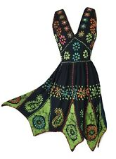 Boho Knee Length Dress Hippy Batik Pixie Hem Black Green One Size 8 10 12 14 16