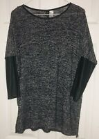 Divided by H&M Womens 3/4 Faux Sleeve Heathered  Lt Knit Sz M Black Gray