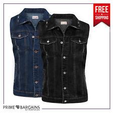 Mens Women Denim Jacket Hippy Biker Sleeveless Jeans Vest Coat Outwear Waistcoat