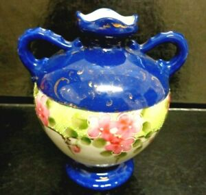 ANTIQUE JAPANESE BEAUTIFUL 1920'S QUALITY BLUE HAND PAINTED VASE 5 X 5.6 Inch