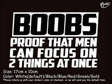 BOOBS PROOF THAT MAN CAN FOCUS ON  Reflective Funny Sticker Decal Best Gift-
