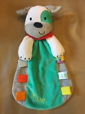 """Taggies Security BLANKET rattle PLUSH  BABY  puppy dog WOOF! turquoise gray 13"""""""