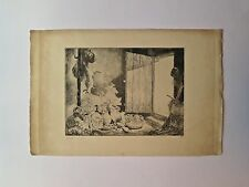 Gravure pointe sèche, Le Garde-manger, C. Huard, 1874-1965
