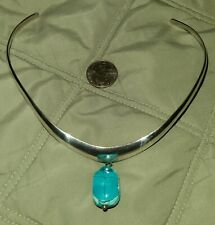 """Sterling Silver Mexico 1"""" x 5/8"""" Turquoise Scarab 14"""" Choker Necklace - 30.g"""