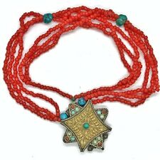 Antique Islamic Handmade Necklace With Silver Tone Pendant Secret Compartment