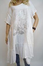 16 18 20 22 Italian Linen Lagenlook Tunic Dress Plus Size Silver Flower White