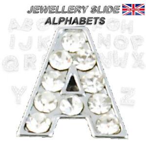 10mm Initial Letter Alphabet Diamante Slide Charm DIY Jewellery Bling Rhinestone