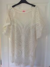 *River Island Ladies Ivory Mesh Beach Dress Kaftan/Kimono Cover-Up Size M