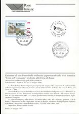 ITALIA 1997 FIERA DI ROMA BOLLETTINO COMPLETO DI FRANCOBOLLI  FDC