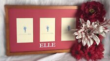 """Pottery Barn Kids Picture Frame 3 Photo Wood Red Mat """"ELLE"""" 11 x 18 x 1"""""""