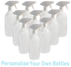 10 x 500ml PET Plastic Gloss White Trigger Bottle Cleaning Spray Personalise