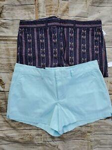 "2 New Khakis by Gap City Shorts 3"" Floral Print Mid Rise Sz 18"