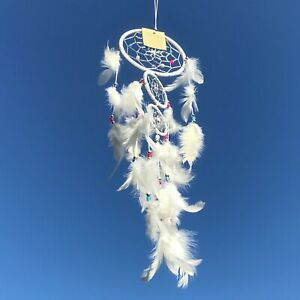 New Cream Dream Catcher Native American Hanging Mobile Fluffy Feathers  Ref 148