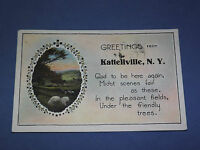 VINTAGE 1930 GREETINGS FROM KATTELLVILLE    NEW YORK   POSTCARD