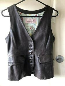 Vintage Son Jung Wan Women's Leather Vest Buttons Lined Korea