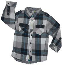 Petit Lem Boys Size 5 Shirt Black Blue Long Sleeve Plaid Button Down Collar NWT