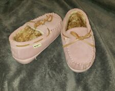 Norty Pink Girls Slippers Moccasins Size 13Indoor outdoor