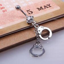 Handcuffs Belly Button Rings Crystal Rhinestone Navel Bar Body Piercing Jewelry