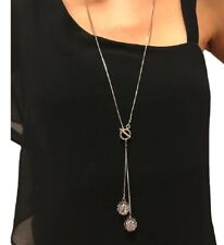 Silver Long Chain Lariat Drop Charm Bar Necklace Jewelry Pendant