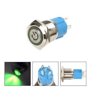 Waterproof Car Green LED 16mm 12V Metal Push Button Toggle Switch Socket Plug