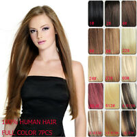 Clip In 100% Real Human Hair Extensions Black Brown Blonde Highlight 14-30inch