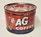 Vintage AG Coffee Tin One Pound Size Advertising Can Red