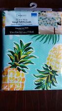 """Tropical Floral Flowers PINEAPPLES Luau Summer Party Vinyl Tablecloth 52"""" x 70"""""""