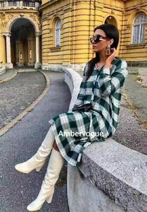 Zara Green Printed Midi Pleated Dress Size M Uk 10