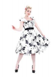 H&R LONDON GRAPHITE FLOWER OUTLINE 50s COCKTAIL HALTER CLASSIC PROM PUNK DRESS