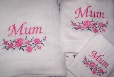 """BEAUTIFULLY EMBROIDERED MUM TOWEL BAIL"" IDEAL GIFT"