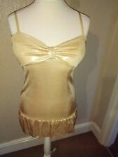 Pilot ladies festive party strappy shiny gold tunic top size 12