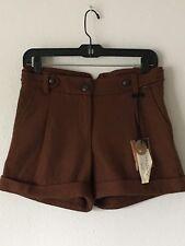 Nwt Sanctuary Brown Cuffed Pleated Wool Blend Shorts Sz 26
